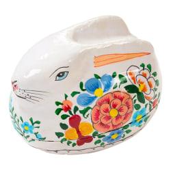 Påskägg Ask Handmålat - Vit Kanin vit