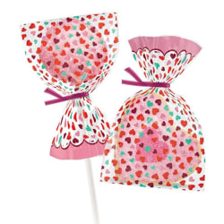 Presentpåsar Mini 25 st Hjärtan Cake Pops Klubbor - Wilton  Rosa