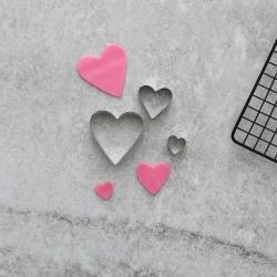 Hjärtan Utstickare 3 st Rostfritt Stål
