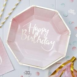 Papptallrikar Happy Birthday - Rosa Vit