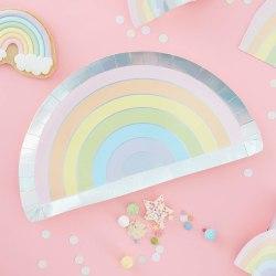 Papptallrikar Regnbåge - Over the Rainbow Pastel  multifärg