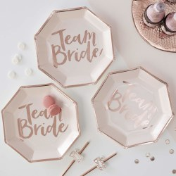 Papptallrikar Rosa - Team Bride Vit