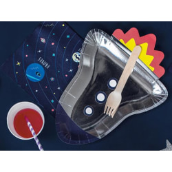 Papptallrikar Rymdraket, Space Rocket Rymdtema Silver