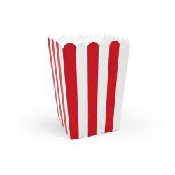 Popcornboxar Röd-Vita Randiga Lådor Askar Snackslådor 6-Pack Röd