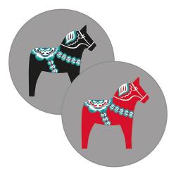 Pufz® - Glasunderlägg Dalahäst 6-pack  grå