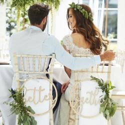 Stolsdekorationer i Trä Better Together Bröllop multifärg