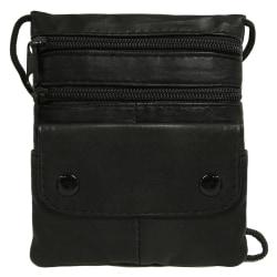 Luffarpåse / mobilväska i äkta läder Svart