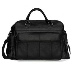 Svart weekendväska / sportbag i äkta läder