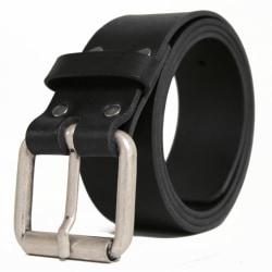 Klassiskt svart läderbälte 115 cm