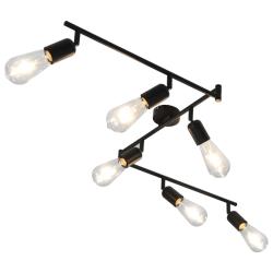 vidaXL Spotlight med 6 st glödlampor 2 W svart 30 cm E27 Svart