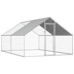 vidaXL Hönsbur för utomhusbruk 2,75x4x1,92 m galvaniserat stål Silver