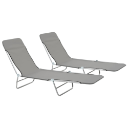 vidaXL Hopfällbara solsängar 2 st stål och tyg grå Grå