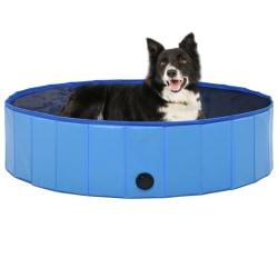 vidaXL Hopfällbar hundpool blå 120x30 cm PVC