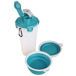 FLAMINGO 2-i-1 Resemugg med skål för vatten/mat Trinka blå och g Flerfärgsdesign