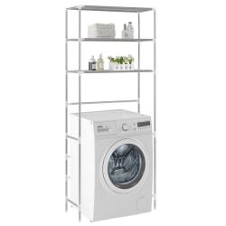 vidaXL Hylla för tvättmaskin med 3 hyllplan silver 69x28x169 cm Silver