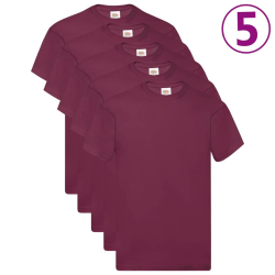 Fruit of the Loom Original t-shirt 5-pack vinröd stl. 3XL bomull Röd