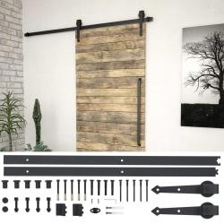vidaXL Skjutdörrsbeslag 183 cm stål svart Svart