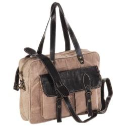 vidaXL Handväska brun 40x53 cm kanvastyg och äkta läder Brun