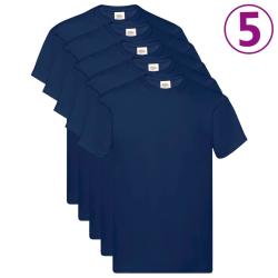 Fruit of the Loom Original t-shirt 5-pack marinblå stl. 3XL bomu Blå
