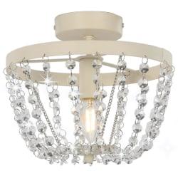 vidaXL Taklampa med kristallpärlor vit rund E14 Vit