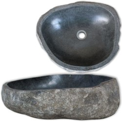 vidaXL Handfat flodsten oval 30-37 cm