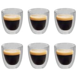 vidaXL Espressoglas dubbelväggiga 6 st 80 ml Transparent