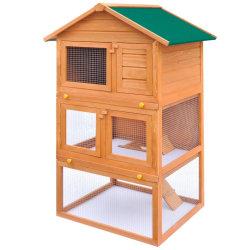 vidaXL Utebur för smådjur 3 nivåer trä Brun