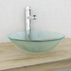 vidaXL Handfat i härdat glas 42 cm frostat Vit