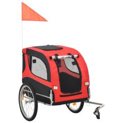 vidaXL Cykelvagn för hund röd och svart Svart