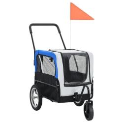 vidaXL 2-i-1-Cykelvagn för husdjur och joggingvagn grå och blå Grå