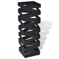 vidaXL Paraplyställ 48,5 cm fyrkantig stål svart Svart
