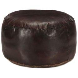 vidaXL Sittpuff mörkbrun 60x30 cm äkta getskinn Brun