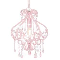 vidaXL Taklampa med pärlor silver rund E14 Rosa