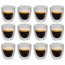 vidaXL Espressoglas dubbelväggiga 12 st 80 ml Transparent