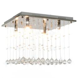 vidaXL Taklampa med kristallpärlor silver kub G9 Silver