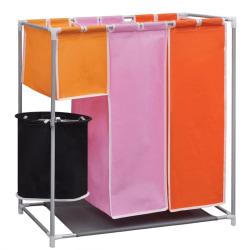 vidaXL Tvättsorterare 3 sektioner med en tvättkorg Flerfärgsdesign