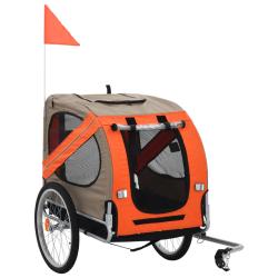 vidaXL Cykelvagn för hund orange och brun Brun
