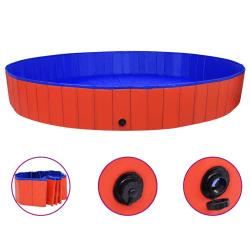 vidaXL Hopfällbar hundpool röd 300x40 cm PVC