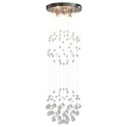 vidaXL Taklampa med kristallpärlor silver sfär 3 x G9-lampor Silver