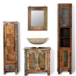 vidaXL Badrumsskåp återvunnet massivt trä med spegel & 2 sidoskå Flerfärgsdesign