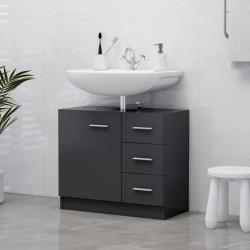 vidaXL Tvättställsskåp grå 63x30x54 cm spånskiva Grå