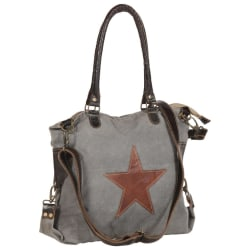 vidaXL Shoppingväska mörkgrå 41x63 cm kanvas och äkta läder Grå