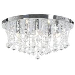 vidaXL Taklampa med kristallpärlor silver rund 4 x G9-lampor Silver