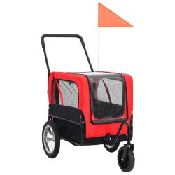 vidaXL 2-i-1-Cykelvagn för husdjur och joggingvagn röd och svart Röd