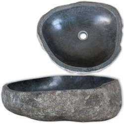 vidaXL Handfat flodsten oval 46-52 cm