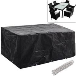 vidaXL Möbelöverdrag för matgrupp 10 öljetter 240 x 140cm Svart