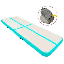 vidaXL Uppblåsbar gymnastikmatta med pump 400x100x20 cm PVC grön Grön