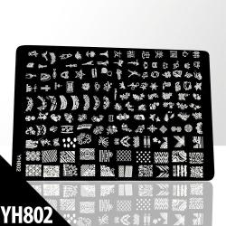 Stämpelplatta - Nageldekorationer - YH802 - Rektangel Metall utseende