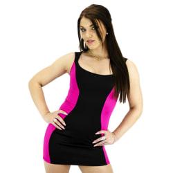 Rosa / Svart klänning i klara färger