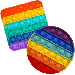 2PCS Push Pop Bubble Sensory Fidget Toy, Pop It -Rainbow Colors flerfärgad 2